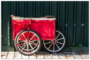 Istanbul - Red Cart on Green Wall